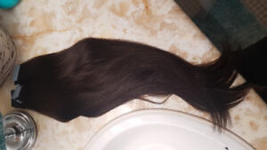 """NEVER BEEN WORN. 20 """" REAL human hair tape ins. Medium brown"""