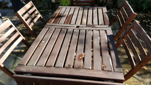 Ikea patio table and  foldable chairs
