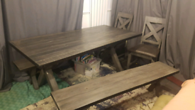 Large Industrial Style Grey Stained Pine Table, 2 Benches + 2 Chairs