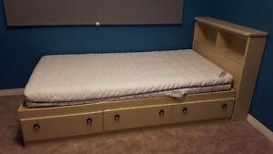 Ikea Twin Foam Mattress & Bedframe with dresser & Headboard