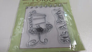 It's a Party Cake on plate clear stamps