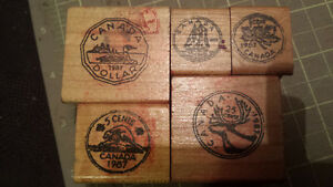 Canadian coin shaped rubber Stamps