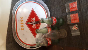 Coca-Cola tray and collectables