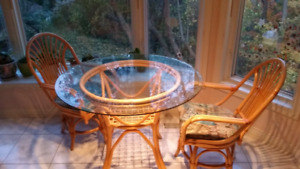 "Wicker glass 42"" table with 4 chairs"