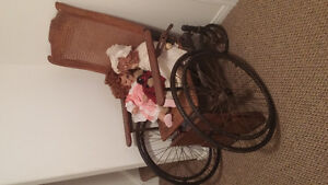 Antique Wheelchair and Antique Sewing Machine