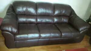 Comfy leather couch and love seat