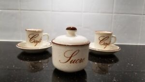 12 Espresso Cups Set (cups and saucers) and Matching Sugar Bowl