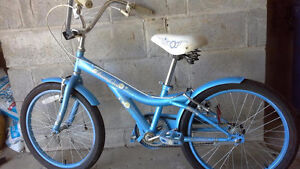 """20"""" girl bike blue ,has a rip at the corner of the seat"""