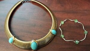 Necklace & bracelet...costume jewellery in blue & green