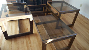 Glass coffee table plus two end tables