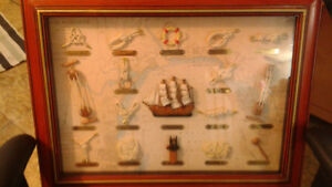 nautical framed shadow box - sailor knots may flower ship