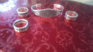 Mexican silver bracelet and rings