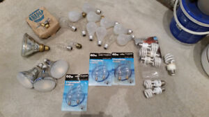 Light Bulbs Lot of Various Types and Sizes for Sale
