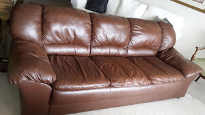 Chocolate Brown 3 Seat Leather Sofa