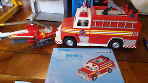Playmobil Fire Truck & Rescue Helicopter
