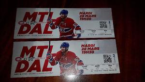Billets des Canadiens pour ce soir à vendre