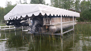 Hewett pontoon boat lift with canopy and pwc lift with canopy an