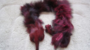 Genuine real fox fur red/black 1 pcs