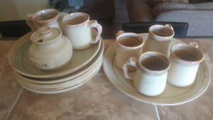 Set of handmade pottery dishes.