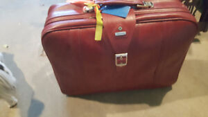 Three (3) Red Leather Samsonite Luggage Bags - Various Sizes