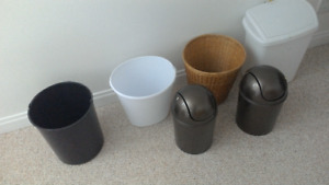 Various garbage bins, baskets