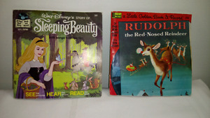 Vintage Disney Read Along Sleeping Beauty & Rudolph with Records