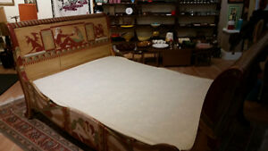 Vintage Sleigh Bed Frame Double Egyptian Motif hand painted Sarnia Sarnia Area image 2