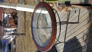 Round kitchen dining table: glass wood w wrought iron steel legs