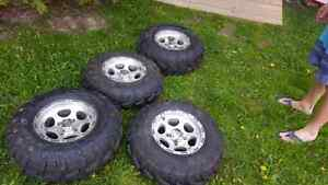 ITP RIMS WITH BARELY USED TIRES!!