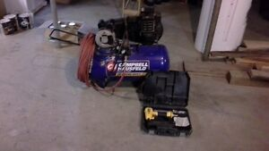 Campbell Hauser 20 gal. Portable Compressor complete with air ho