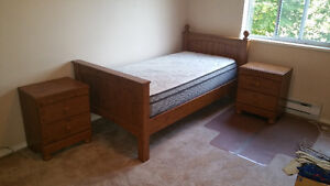 SINGLE BED FRAME WITH 2 MATCHING NIGHT STANDS