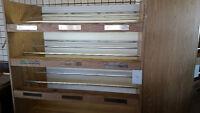 3 Bakery Racks, Wooden, with lighting. FREE