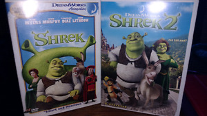Shrek 1 and 2 DVDs