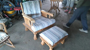 solid wood arm chair with ottoman Belleville Belleville Area image 1