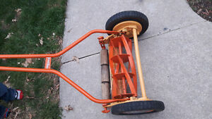 antique push lawnmower made in england
