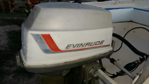 90hp evinrude outboard motor and controls
