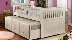 TRUNDLE BED WITH 3 DRAWERS IN SOLID WOOD