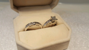 14kt White Gold Princessa engagement set