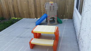 Climber and slider and picnic table little tikes