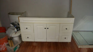 """White 48"""" cabinet with counter top, sink and faucet"""