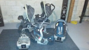 Graco double stroller, 2 car seat with bases