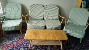 ANTIQUE ERCOLE LOVE SEAT, CHAIRS, TABLE