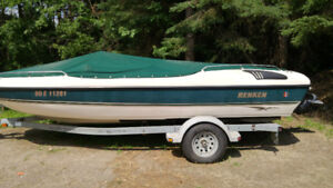 19 Ft Deck Boat with In/Out Board Motor with Trailer