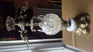 Antique Crystal and White Marble Lamp
