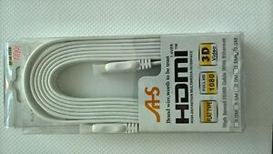 High quality HDMI to HDMI ver. 1.4 white flat cable 5m