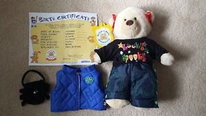 Build-A-Bear furry friend and 2 outfits