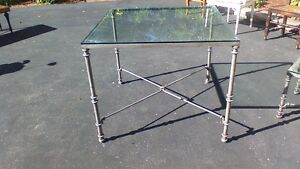 """Glass-top 36"""" square dining table"""