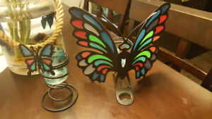 stained glass butterfly candle holders