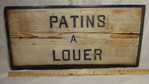 Old Wooden Outdoor Signage Ice Skating