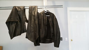 Leather motorcycle coat and chaps